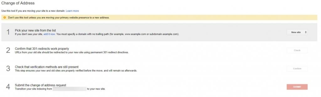 Search console change address